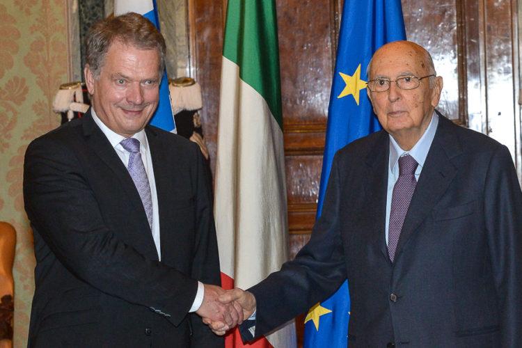 Presidenttien keskusteluissa aiheena olivat mm. Euroopan tulevaisuus politiikan, talouden ja turvallisuuden näkökulmasta. Antonio Di Gennaro / Italian presidentin kanslia