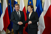 Presidentti Niinistö ja Puolan pääministeri Ewa Kopacz tapasivat Varsovassa 31. maaliskuuta 2015. Copyright © Tasavallan presidentin kanslia