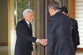 Japanin keisari Akihito ja keisarinna Michiko vastaanottivat presidentti Sauli Niinistön ja puoliso Jenni Haukion vierailulle keisarilliseseen palatsiin Tokiossa 10. maaliskuuta. Copyright © Tasavallan presidentin kanslia