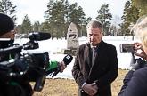 Presidentti Niinistö Ivalon rajavartioasemalla median haastateltavana 13.4.2016. Kuva: Matti Porre / Tasavallan presidentin kanslia