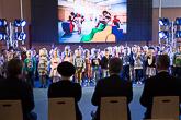 Vierailu Kymenlaaksoon alkoi Linnoituksen upouudesta päiväkodista Haminasta. Lapset esittivät tarinoita ja lauluja haminalaisesta lapsuudesta. Kuva: Matti Porre/Tasavallan presidentin kanslia