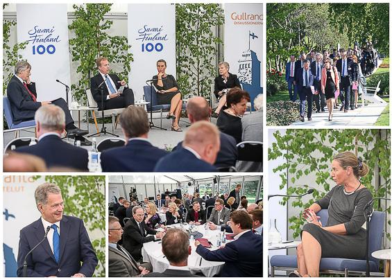 Gullrandadiskussionernas första dag började med republikens presidents anförande och en diskussion om de europeiska försvarsinstitutionernas framtid.