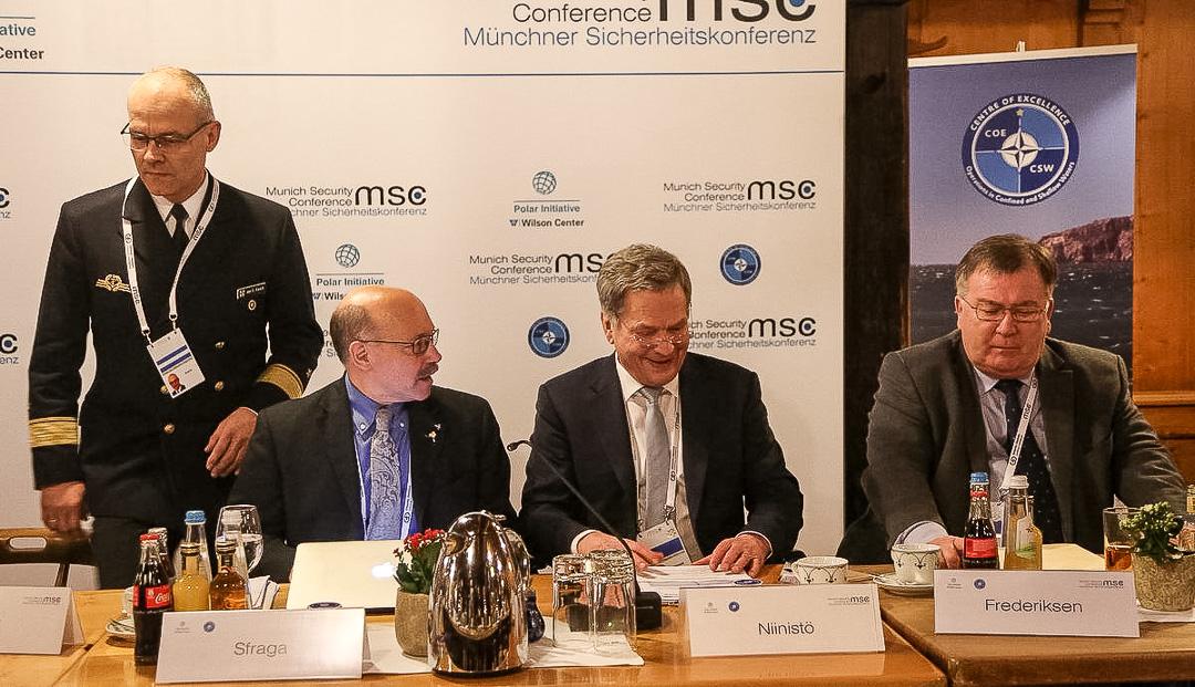 President Niinistö höll ett inledande anförande i panelen som behandlade den arktiska regionens säkerhet. Foto: Katri Makkonen/Republikens presidents kansli