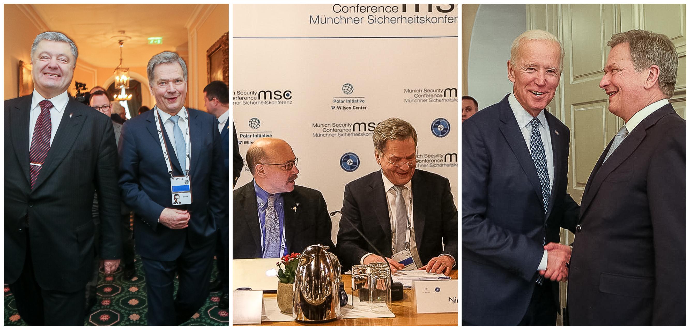 På säkerhetsmötet i München träffade president Niinistö bland annat Ukrainas president Petro Porosjenko (t.v.) och Förenta staternas före detta vicepresident Joe Biden. Foto: Katri Makkonen/Republikens presidents kansli