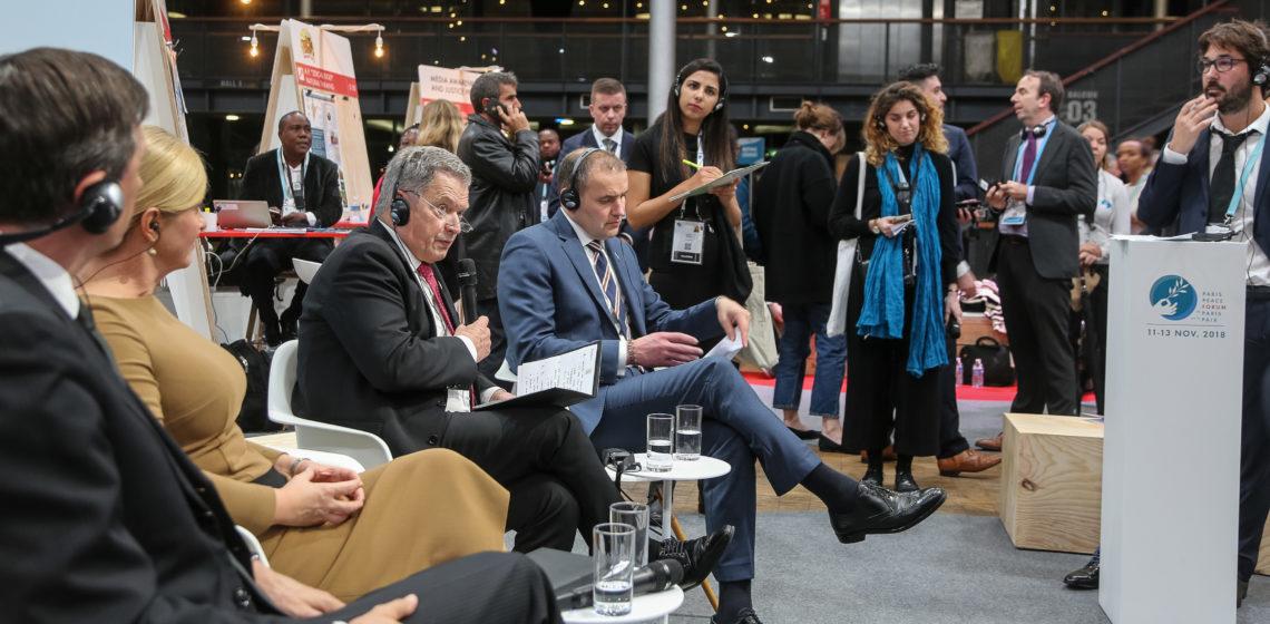 Presidentti Niinistö osallistui Pariisin rauhanfoorumin keskusteluihin sunnuntaina 11.11.2018. Kuva: Katri Makkonen/Tasavallan presidentin kanslia