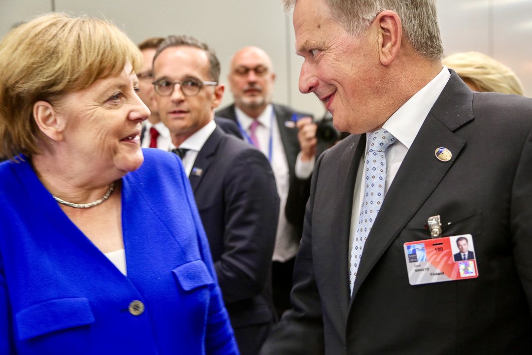 German Federal Chancellor Angela Merkel and President Niinistö at the NATO summit.  Photo: Katri Makkonen/Office of the President of the Republic of Finland