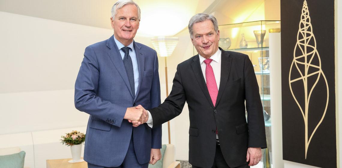 Tasavallan presidentti Sauli Niinistö tapasi EU:n puolella brexit-neuvotteluista vastaavan pääneuvottelijan Michel Barnierin. Kuva: Matti Porre/Tasavallan presidentin kanslia
