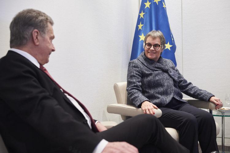 Presidentti Niinistö tapasi Euroopan neuvoston parlamentaarisen yleiskokouksen puheenjohtajan Liliane Maury Pasquierin Strasbourgissa. Keskustelunaiheina olivat mm. tasa-arvo ja Venäjän jäsenyys EN:ssä. © Council of Europe / Candice Imbert