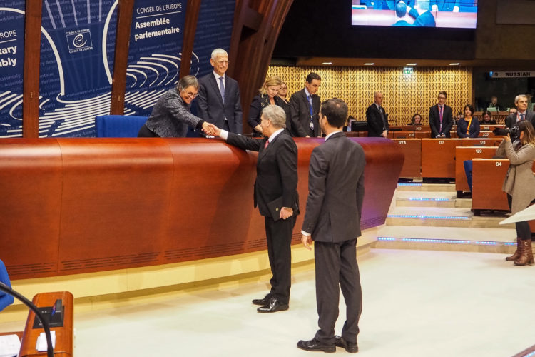 Presidentti Niinistö puhui Euroopan neuvoston parlamentaarisen yleiskokouksen täysistunsossa. Kuva: Katri Makkonen/Tasavallan presidentin kanslia