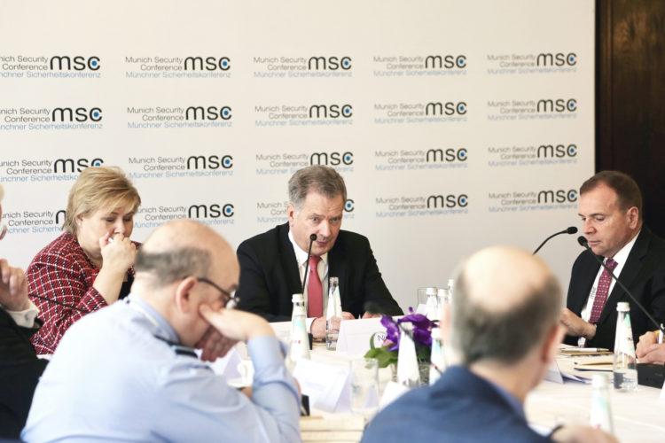 Presidentti Niinistö piti avauspuheenvuoron  arktisen alueen turvallisuutta koskevassa keskustelussa Münchenin turvallisuuskonferenssissa. Kuva: Katri Makkonen/Tasavallan presidentin kanslia