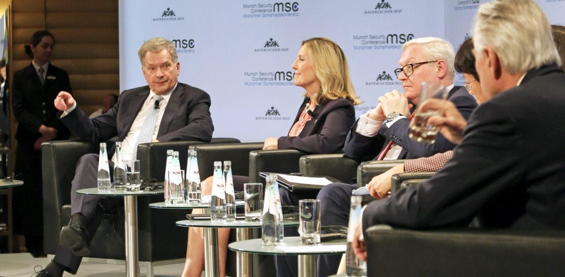 Presidentti Niinistö osallistui asevalvontaa koskevaan paneelikeskusteluun Münchenin turvallisuuskonferenssissa. Kuva: Katri Makkonen/Tasavallan presidentin kanslia