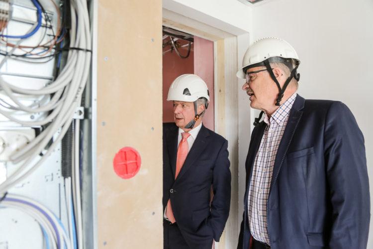 Joensuun Penttilään on noussut Suomen korkein puukerrostalo - 14 kerrosta ja 117 asuntoa. Kuva: Katri Makkonen/Tasavallan presidentin kanslia