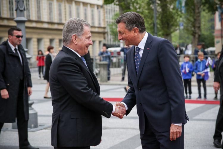 Slovenian presidentti Borut Pahor vastaanotti presidentti Niinistön viralliselle vierailulle Sloveniaan. Kuva: Matti Porre /Tasavallan presidentin kanslia