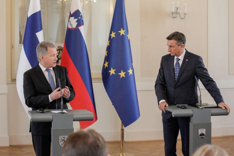 Presidentit Pahor ja Niinistö yhteisessä lehdistötilaisuudessa Ljubljanassa. Kuva: Matti Porre /Tasavallan presidentin kanslia