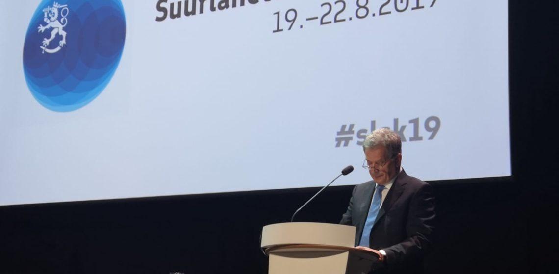 Tasavallan presidentti Sauli Niinistö Suurlähettiläskokouksessa.