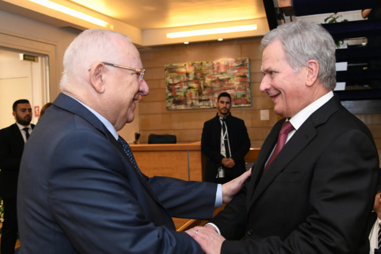 President Sauli Niinistö met with President of Israel Reuven Rivlin in Jerusalem on 22 January 2020. Photo: Haim Zach / GPO