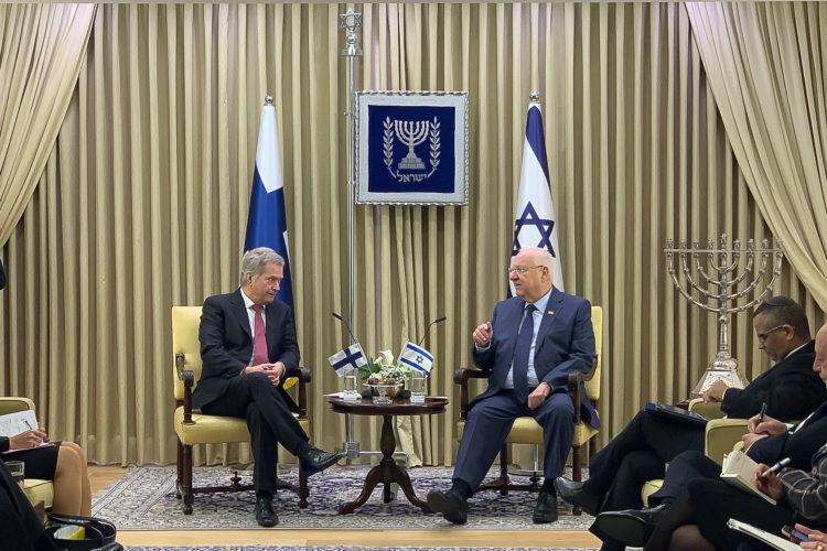 President Sauli Niinistö met with President of Israel Reuven Rivlin in Jerusalem on 22 January 2020. Photo: Hanna Gehör/Embassy of Finland in Tel Aviv