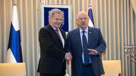 President Sauli Niinistö träffade Israels president Reuven Rivlin den 21 januari i Jerusalem. Foto: Jouni Mölsä/Republikens presidents kansli