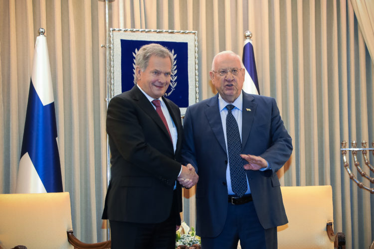 President Sauli Niinistö met with President of Israel Reuven Rivlin in Jerusalem on 22 January 2020. Photo: Jouni Mölsä/Office of the President of the Republic of Finland