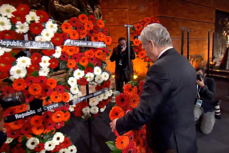 President Niinistö laid a wreath at the Monument to the Ghetto Heroes at Yad Vashem. Photo: Yad Vashem web stream