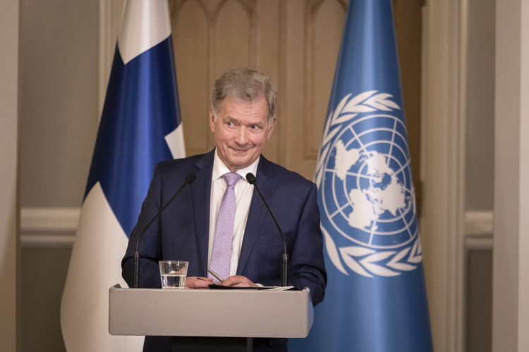 President Niinistö in a press conference at the Presidential Palace after his statement at the 75th General Debate of the United Nations General Assembly. Photo: Jon Norppa/The Office of the President of the Republic of Finland