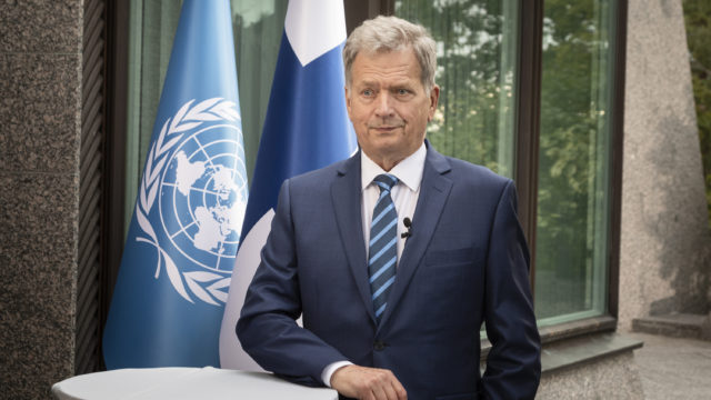 Keskiviikkona 23. syyskuuta presidentti Niinistö puhui YK:n yleiskokouksen 75. yleiskeskustelussa. Kuva: Jon Norppa/Tasavallan presidentin kanslia