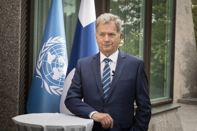 President Niinistö delivered a speech at the 75th General Debate of the United Nations General Assembly 23 September 2020. Photo: Jon Norppa/The Office of the President of the Republic of Finland
