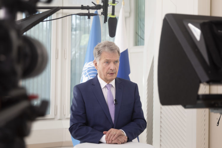President of the Republic of Finland Sauli Niinistö making a virtual statement for the High-Level Meeting on the 25th anniversary of the Fourth World Conference on Women, 1 October 2020. Photo: Riikka Hietajärvi/The Office of the President of the Republic of Finland