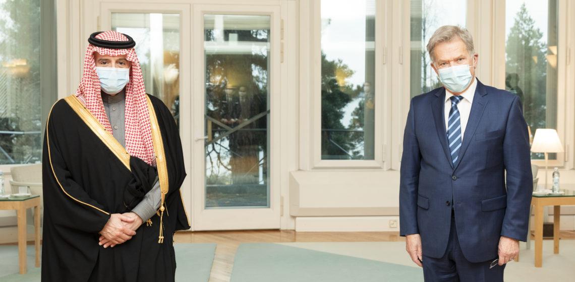 President Niinistö träffade saudiske ministern Adel al-Jubeir på Talludden. Foto: Jon Norppa/Republikens presidents kansli