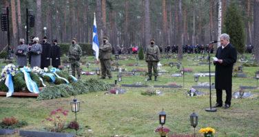 President Sauli Niinistö höll ett tal vid Mannerheimkorsets riddare Tuomas Gerdts begravning 28.11.2020. Bild: Juhani Kandell/Försvarsmakten