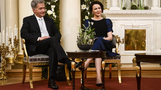 President of the Republic Sauli Niinistö and Mrs Jenni Haukio in an interview during the Independence Day celebration at the Presidential Palace in Helsinki on 6 December 2020. Photo: Emmi Korhonen/Office of the President of the Republic