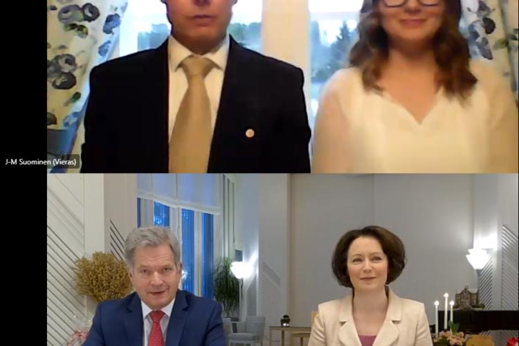 Presidenttipari keskusteli MTK-Vehmaa ry:n puheenjohtaja Juha-Matti Suomisen ja Sofia Suomisen kanssa kotimaisesta ruoan tuotannosta.