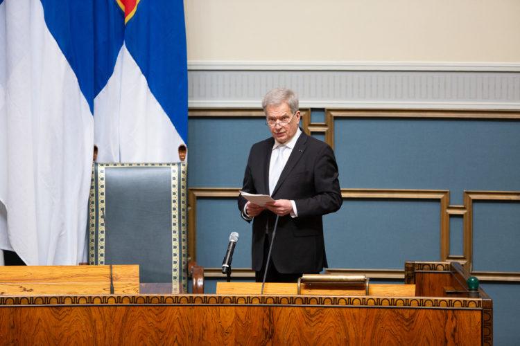 President Niinistö öppnade 2021 års riksmöte i riksdagen den 3 februari 2021. Foto: Hanne Salonen/Riksdagen