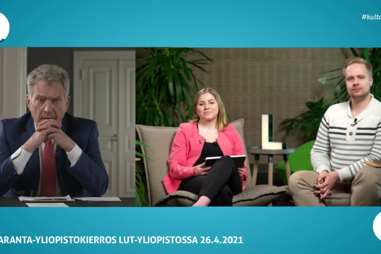 LUT-yliopiston keskustelun moderaattoreina toimivat Lappeenrannan teknillisen yliopiston ylioppilaskunnan hallituksen puheenjohtaja Anniina Pokki ja Ylioppilaskunnan toiminnanjohtaja Arttu Kaukinen.