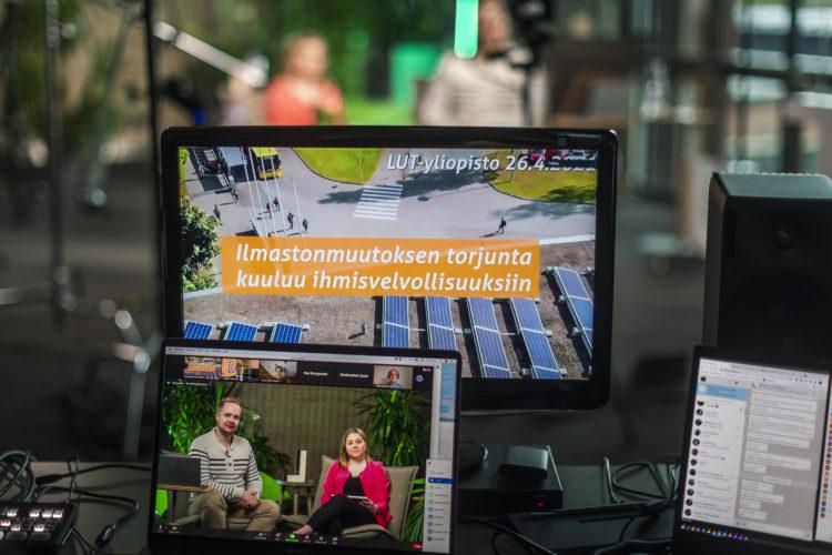 LUT-yliopiston opiskelijat ja presidentti Niinistö keskustelivat mm. ilmastonmuutoksen torjumisesta 26.4.2021. Kuva: Teemu Leinonen/LUT