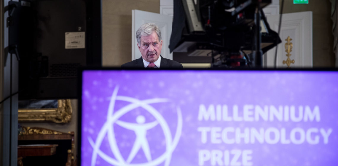 President of the Republic of Finland Sauli Niinistö presented the Millennium Technology Prize in a virtual award ceremony on 18 May 2021. Photo: Matti Porre/Office of the President of the Republic