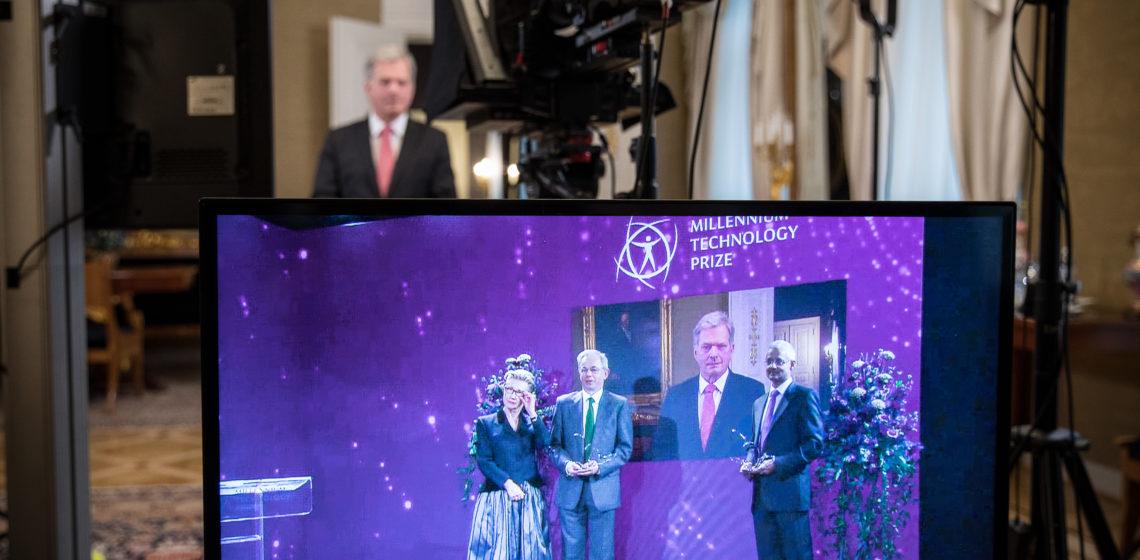 President Niinistö delade ut Millenniumpriset för teknologi vid en virtuell prisutdelning den 18 maj 2021. Foto: Matti Porre/Republikens presidents kansli
