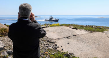 In the Ritva 21 exercise, President Niinistö viewed anti-ship missile firings by Rauma class vessels. Photo: Jouni Mölsä/Office of the President of the Republic