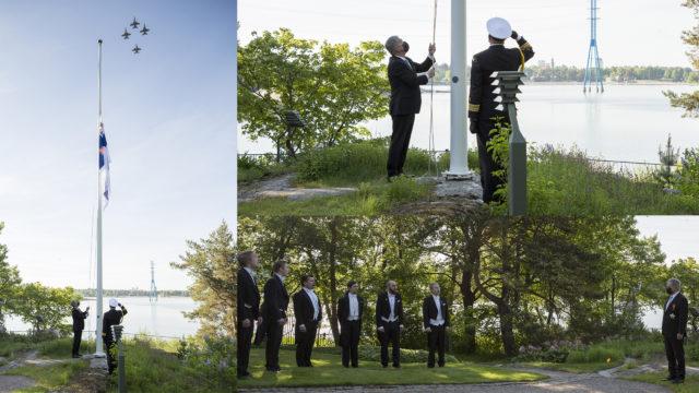 Tasavallan presidentti Sauli Niinistö nosti lipun puolustusvoimain lippujuhlan päivän kunniaksi Mäntyniemessä. Kuva: Jon Norppa/Tasavallan presidentin kanslia