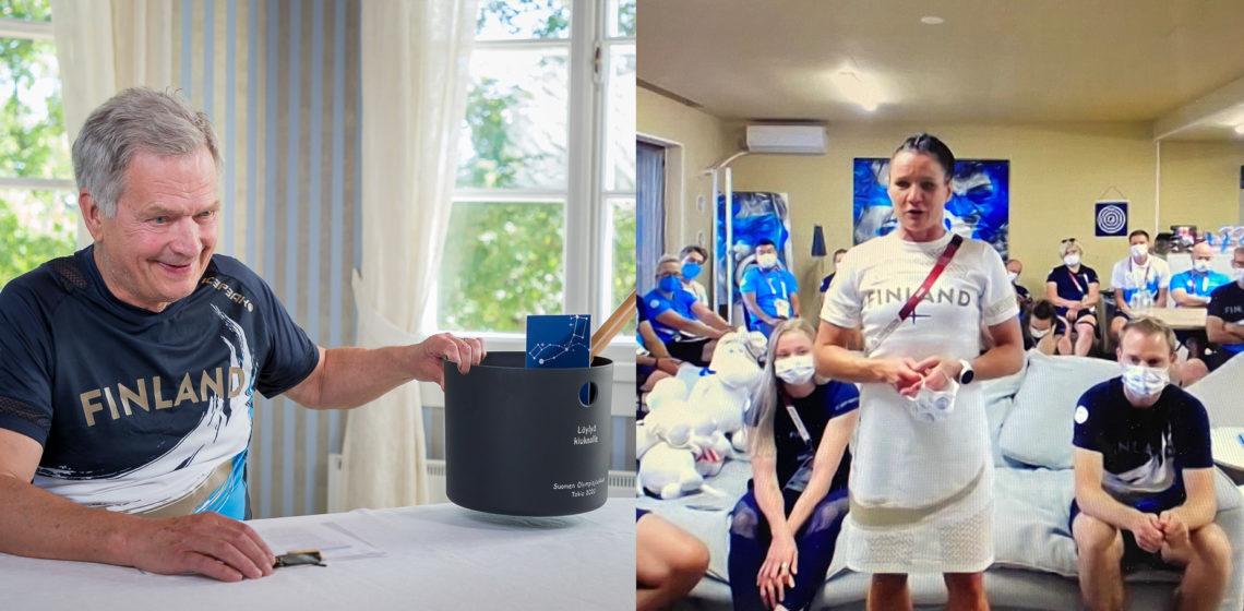 (Kuva vasemmalla) Presidentti Niinistö sai urheilijoilta lahjaksi saunakiulun ja kauhan. Kuva: Jon Norppa/Tasavallan presidentin kanslia. (Kuva oikealla) Nyrkkeilyn pronssimitalisti Mira Potkonen kertoo tunnelmiaan kisakylästä.