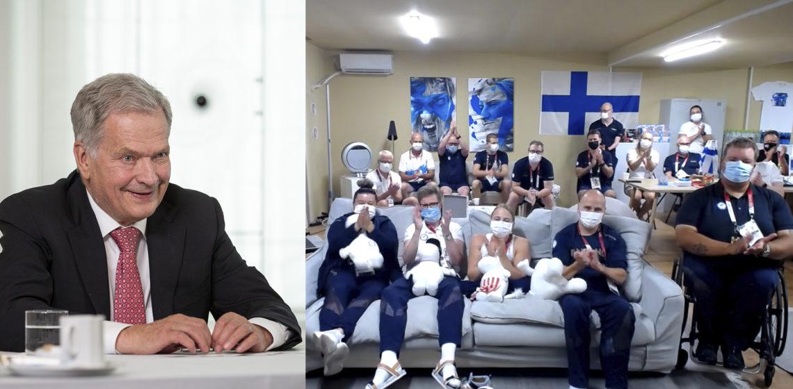 """""""Vi här hemma följer era framgångar och applåderar åt dem, men känner också djup sympati vid misslyckanden"""", sade president Niinistö. Foto: Jon Norppa / Republikens presidents kansli"""