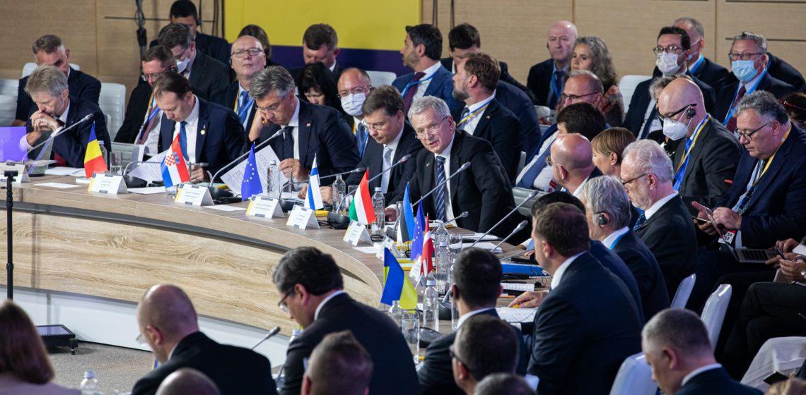 Tasavallan presidentti Sauli Niinistö piti puheenvuoron Krim-foorumin huippukokouksessa (Crimea Platform) Ukrainan Kiovassa maanantaina 23. elokuuta 2021. Kuva: Matti Porre/Tasavallan presidentin kanslia