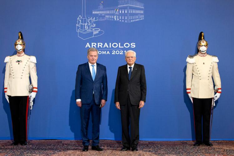 Italiens president Sergio Mattarella tog emot president Niinistö i Quirinalepalatset. Foto: Quirinale