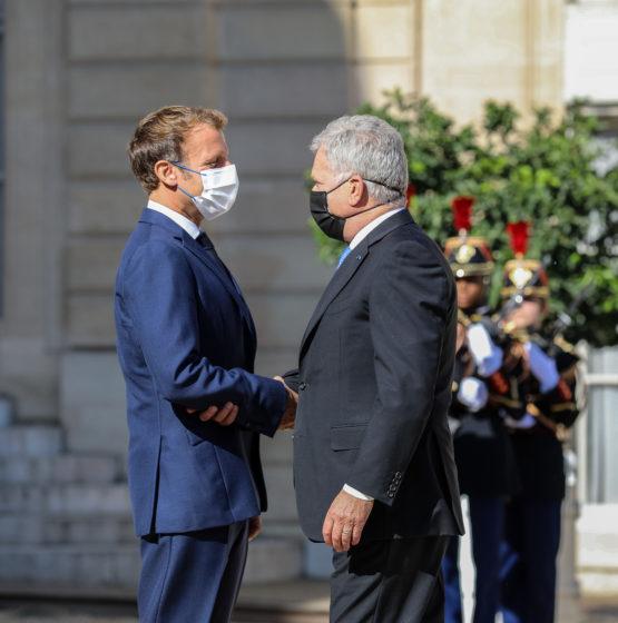 Tasavallan presidentti Sauli Niinistö tapasi Ranskan presidentti Emmanuel Macronin  Pariisissa tiistaina 7. syyskuuta 2021. Kuva: Johanna Unha-Kaprali/Suomen Pariisin-suurlähetystö