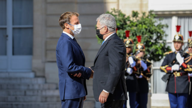 Republikens president Sauli Niinistö träffade Frankrikes president Emmanuel Macron i Paris tisdagen den 7 september 2021. Foto: Johanna Unha-Kaprali/Finlands ambassad i Paris
