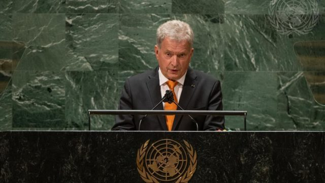 Presidentti Niinistö piti Suomen kansallisen puheenvuoron YK:n yleiskokouksen 76. istunnon yleiskeskustelussa. Kuva: YK/Cia Pak