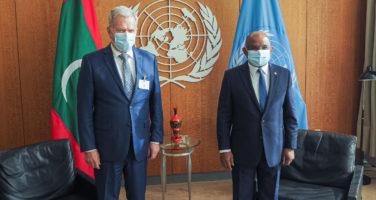 Presidentti Sauli Niinistö tapasi YK:n yleiskokouksen 76. istunnon puheenjohtajan Abdulla Shahidin New Yorkissa 20 syyskuuta 2021. Kuva: Jouni Mölsä/Tasavallan presidentin kanslia