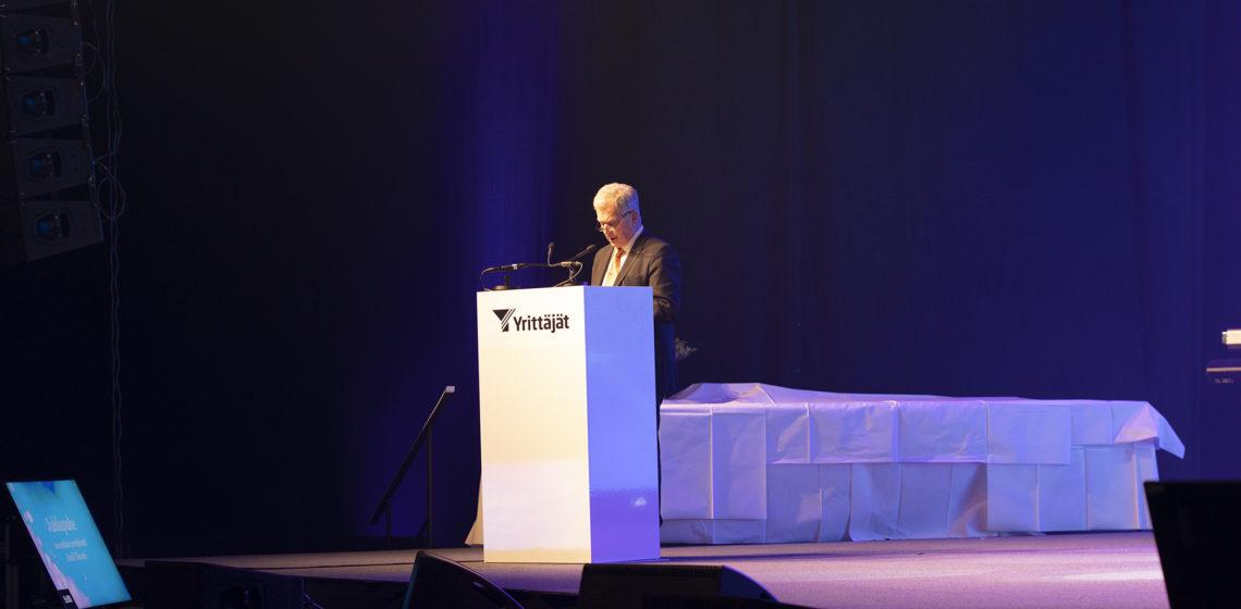 Presidentti Niinistö piti juhlapuheen Yrittäjägaalassa 25.9.2021. Kuva: Johanna Kinnari/Suomen Yrittäjät